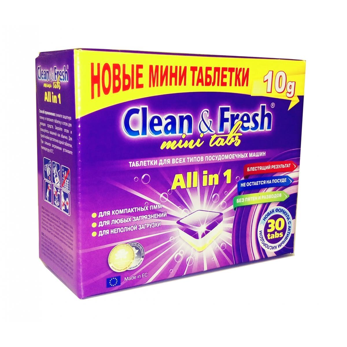 """tabletki dlja pmm clean and fresh all in 1 mini tabs 30 tab - Таблетки для ПММ """"Clean&Fresh"""" All in 1 mini tabs, 30 таб."""